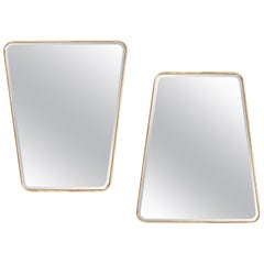 Large Pair of Trapezoidal Wrought Iron Mirrors