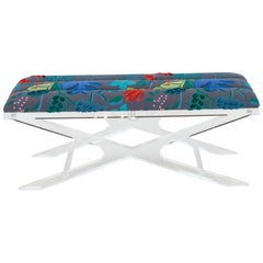 Accent Bench with Lucite Base and Channeled Cushion