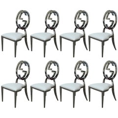 Eight Custom GG Gucci Inspired Chrome Dining Chairs