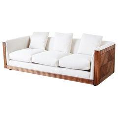 Gabriella Crespi Style Faux Bamboo Rattan Case Sofa