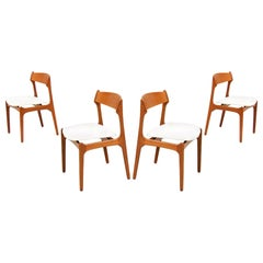Erick Buch Teak and Leather Dining Chairs for O.D. Møbler