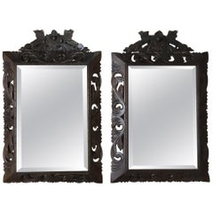 Pair of 19th Century Renaissance Carved Wood Mirrors