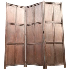 Handcrafted Large Arts and Crafts Solid Tiger Oak Folding Screen or Room Divider