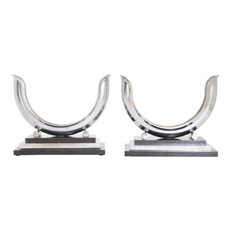 "Machine Age Art Deco Dole Valve ""U"" Shaped Streamline Candlestick Holders For Sale"