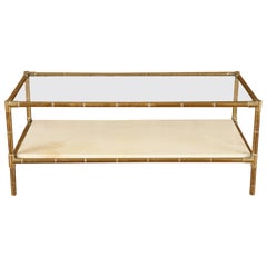 Brass Faux Bamboo Two-Tiered Coffee Table with Parchment Shelf