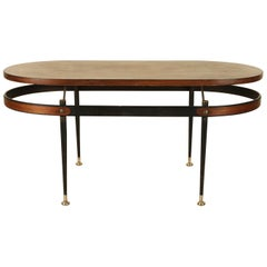 Sculptural Italian Iron and Wood Coffee Table