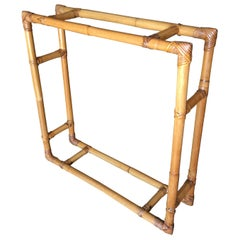 Restored Midcentury Square Rattan Wall Hanging Shelf with Slat Glass Shelves