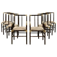 Set of 8 Faux-Bamboo and Brass Dining Chairs in the Billy Haines Manner