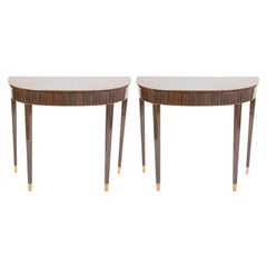 Pair of Art Deco Style Macassar Ebony Demilune Tables with Maple Tipped Feet
