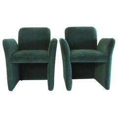 Pair of Emerald Green Velvet Upholstered Armchairs by Leon Rosen for Pace, 1980s