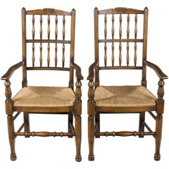 Pair of Cherry Rush Seat Country Spindle Back Dining Room Kitchen Armchairs