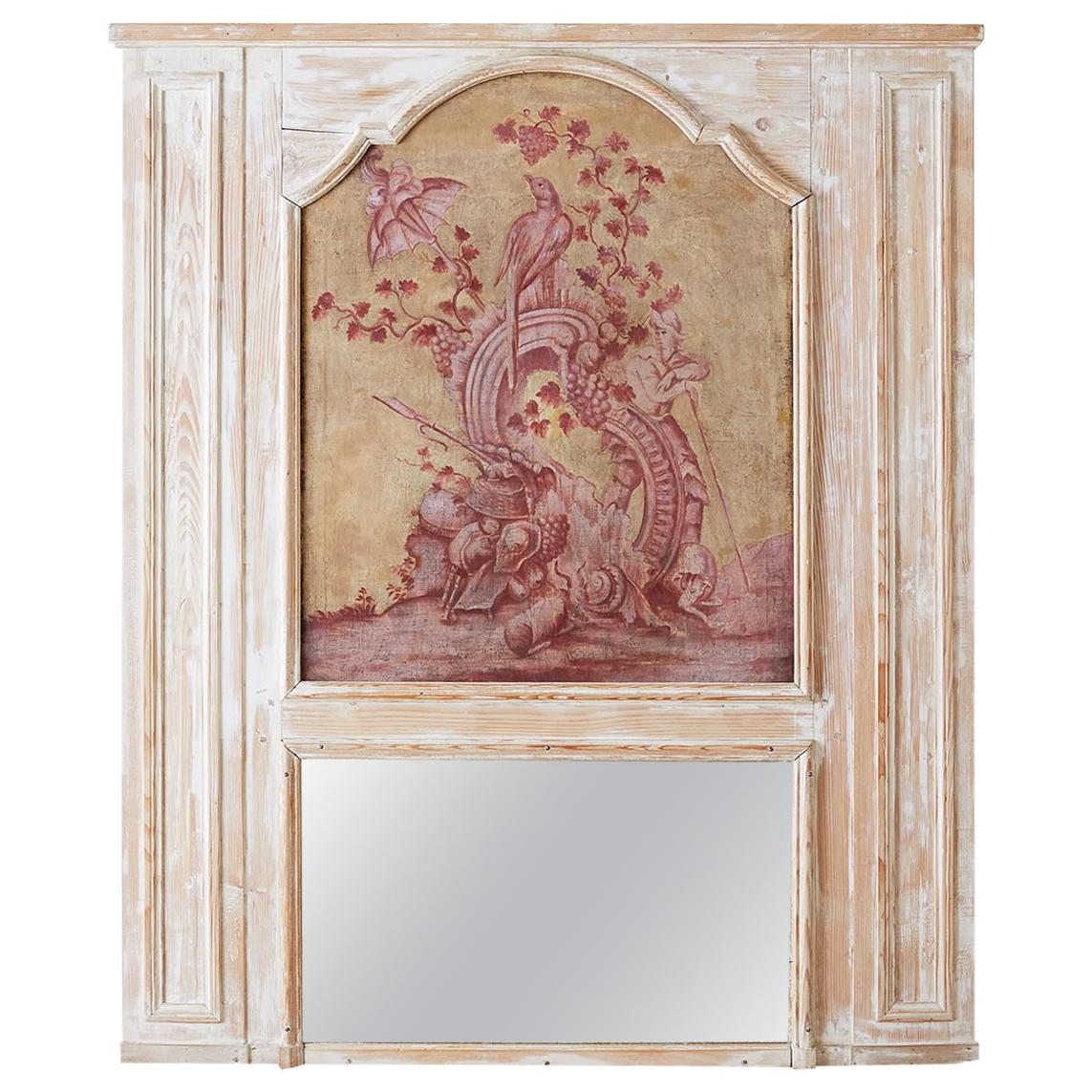 19th Century French Provincial Painted Trumeau Mirror