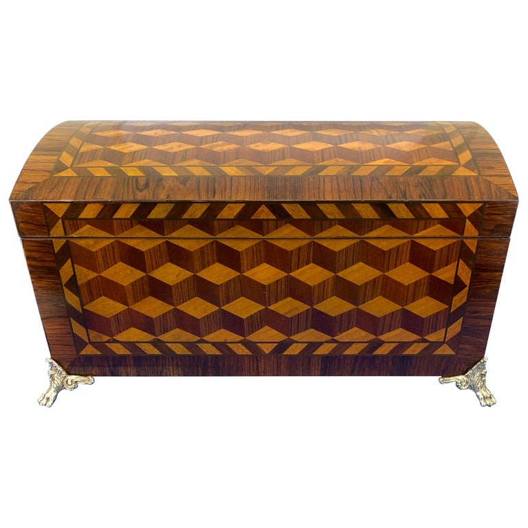 Large Marquetry Jewelry Box with Dome Lid and Gilded Feet For Sale