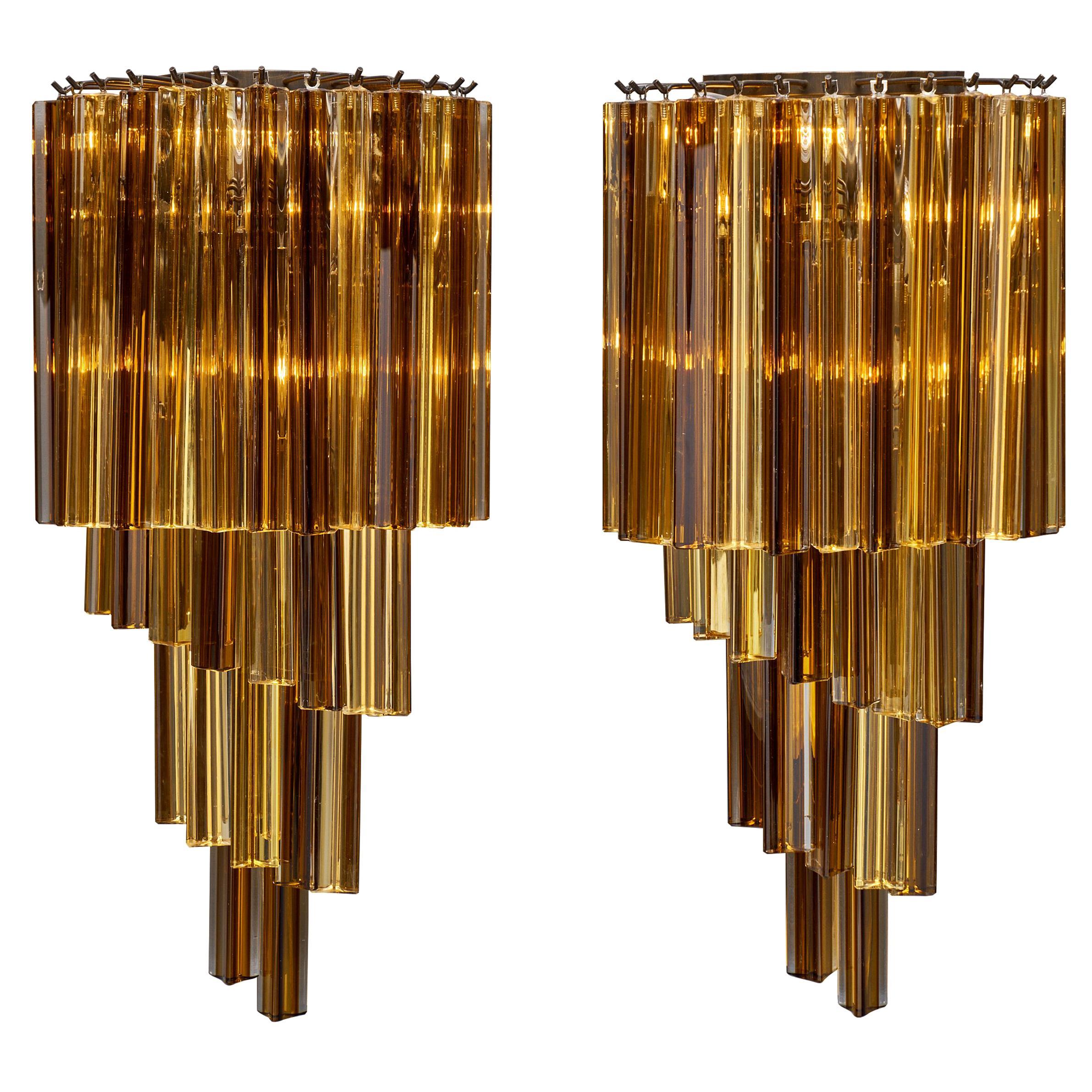 Amber Venini Style Murano Glass Sconces