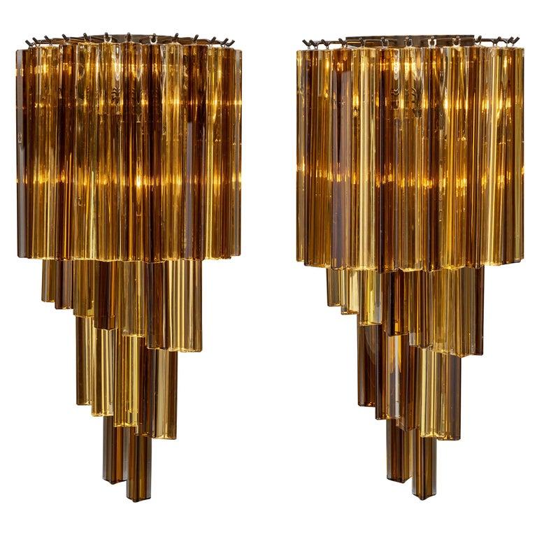 Amber Venini Style Murano Glass Sconces For Sale