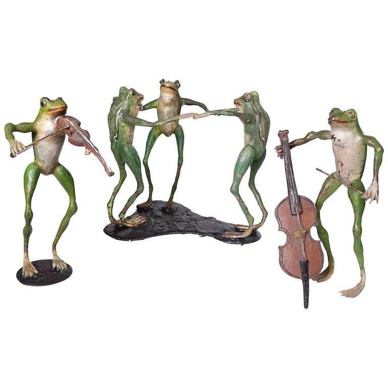 Collection of Antique Cold Painted Vienna Bronze Frogs For Sale