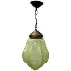Green Art Deco Pendant Light with Crackle Glass, 1930s