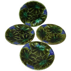 Set of Four Majolica Leaves and Berries Plates Josef Steidl Znaim, circa 1890