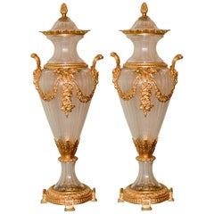 Pair of Baccarat Style Crystal Vases