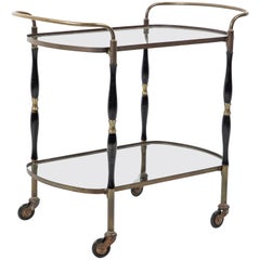 French Deco Black and Brass Bar Cart