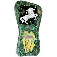 Girolamo Luxardo Ardo Green Cactus White Horse Ceramic Made in Italy Wine Bottle