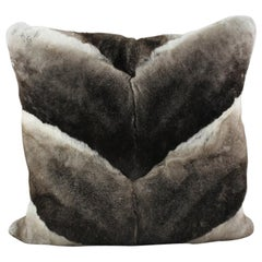 Grey Chinchilla Rabbit Fur Pillow Cushion