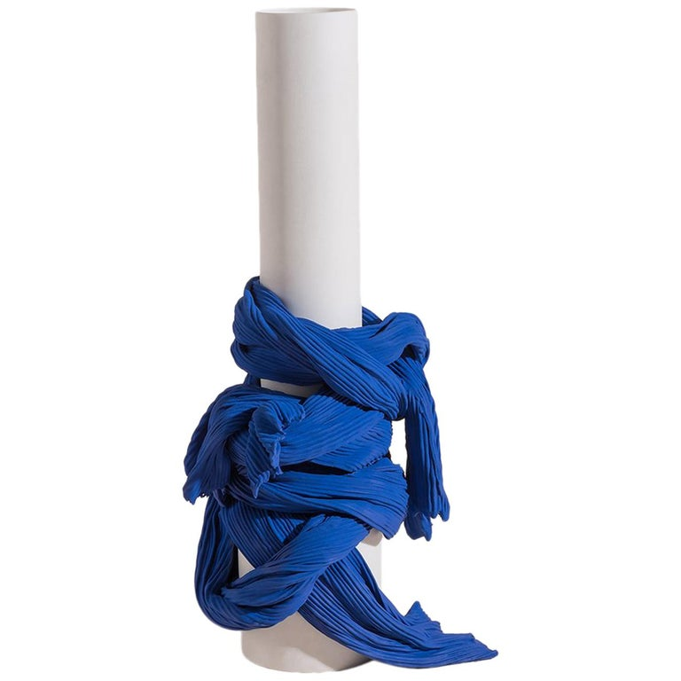 Tertium Quid Vase S8 Porcelain Blue and White Fabric Texture For Sale