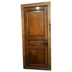 Single Oak Entry Door with Iron Knocker, circa 1880