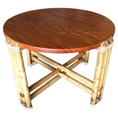 Restored Round Pre-WWII 3-Strand Rattan Coffee Table with Mahogany Top