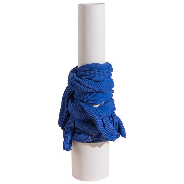 Tertium Quid Vase S2 Porcelain Blue and White Fabric Texture For Sale