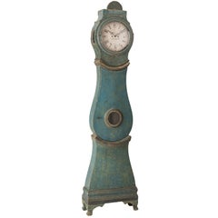 Swedish Tall Case Mora Clock in the Original Blue Paint, circa 1800