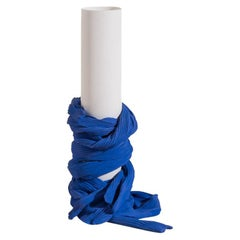 Tertium Quid Vase S5 Porcelain Blue and White Fabric Texture