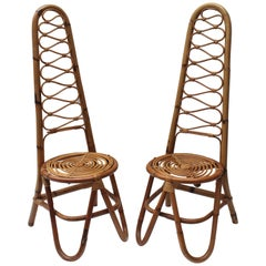 Pair of Italian Rattan Chairs in the Style of Gabriella Crespi