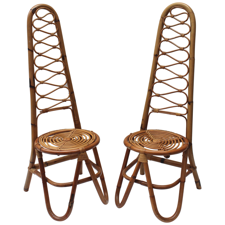 Pair of Italian Rattan Chairs