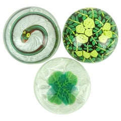 Fratelli Toso Murano Snake Lucky Clover Flowers Italian Art Glass Paperweights