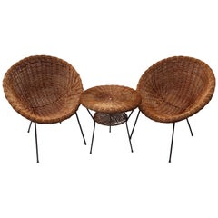 Pair of Rattan Chairs and Table in the Style of Franco Albini