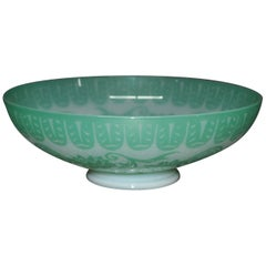 Antique Steuben Jade Green Cut Back Chinoiserie Center Bowl with Peonies