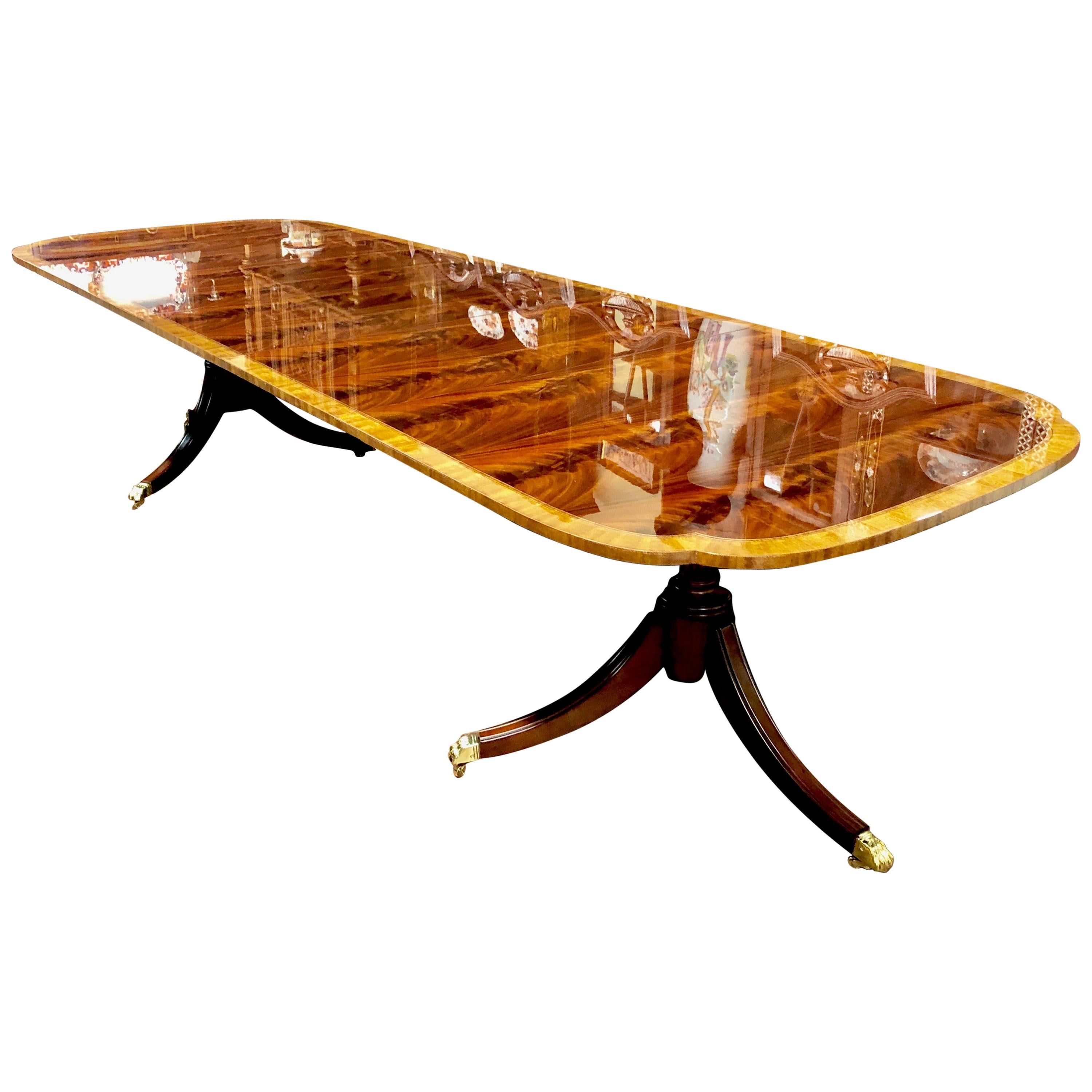 Bench Made Inlaid and Book-Matched Flame Mahogany Sheraton Style Dining Table
