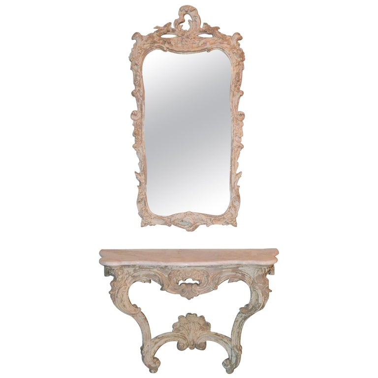 Italian Carved and Painted Wood Console and Mirror For Sale