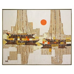 Mid-Century Modern Cubist Style Abstract Geometric Boat Sunset Oil Painting