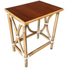 Restored 1-Strand Rattan Large Side Table with Wood Top