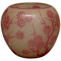 Antique Steuben Rosaline Cut Back Asian Style Floral Art Glass Vase, circa 1920