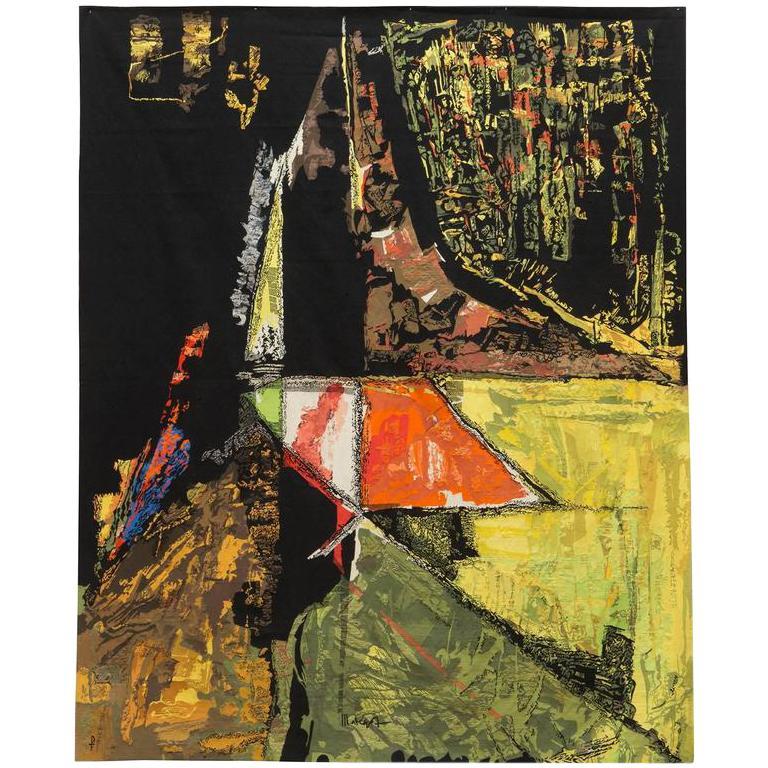 Modern Tapestry Designed by Mathieu Matégot, Le Sommet, orange, black, yellow For Sale