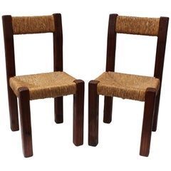 Pair of French Charlotte Perriand Style Primitive Chairs
