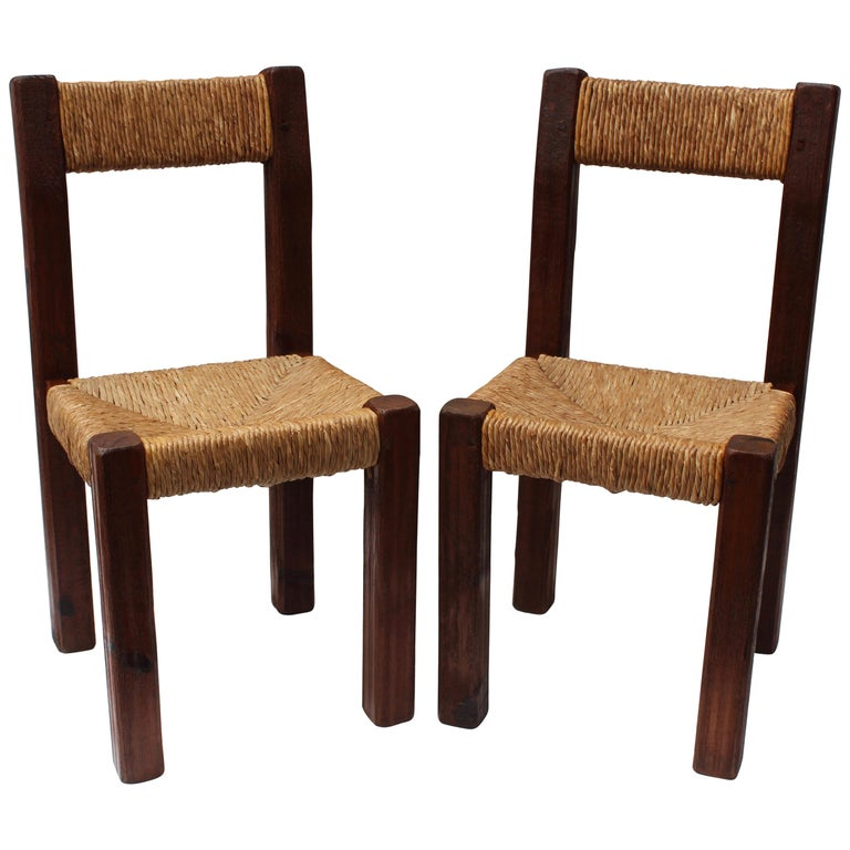 Pair Of French Charlotte Perriand Style Primitive Chairs For Sale At