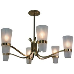 Italian Midcentury Bronze and Glass Chandelier