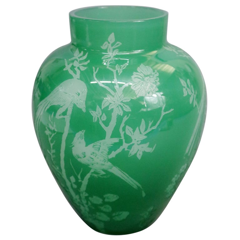 Antique Steuben Jade Green Cut Back Asian Style Bird and Floral Vase, circa 1930 For Sale