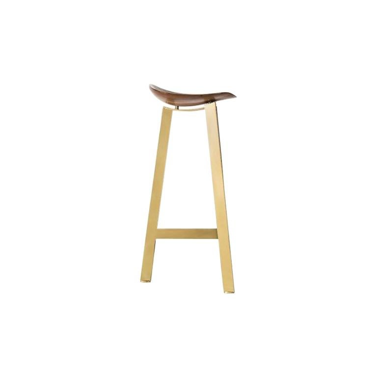 Easy Brass Bar Stool by Sollos For Sale