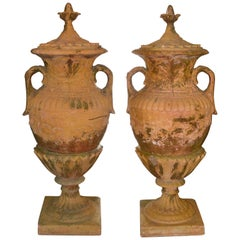 Pair of English Classical Terracotta Garden Urns