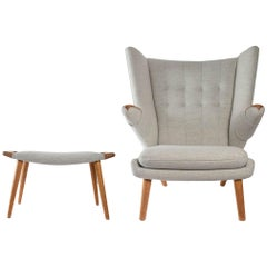 Iconic Papa Bear Armchair with Matching Ottoman, Denmark, Hans Wegner, 1960s